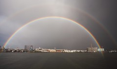 all the way across the sky (n.a.) Tags: double rainbow greenwich peninsula grey clouds morden wharf gas tanker river thames shadows