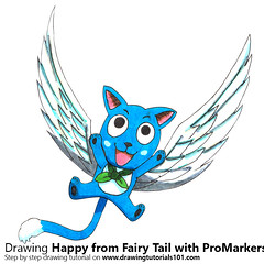 Happy from Fairy Tail with ProMarkers [Speed Drawing] (drawingtutorials101.com) Tags: happy fairy tail manga anime japanese shonen magazine hiro mashima promarkers alcohol markers promarker color coloring draw drawing drawings how timelapse video