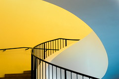 Yellow stairs (Maerten Prins) Tags: germany duitsland deutschland hamburg stair stairs stairwell curl curve soft white orange railing black metal contrast elbphilharmonie elphi concerthall hafencity new architecture abstract line lines explored