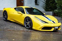 Ferrari 458 Speciale (aguswiss1) Tags: ferrari458speciale ferrari 458 speciale supercar fastcar sportscar racer cruiser yellowcar dreamcar carspotter switzerland wet rain rainy fast 458speciale carporn