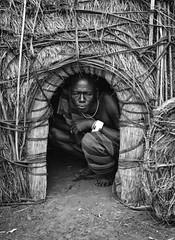 Mursi Hut (Rod Waddington) Tags: africa african afrique afrika äthiopien ethiopia ethiopian ethnic etiopia ethnicity ethiopie etiopian omo omovalley outdoor hut mursi tribe traditional tribal mago blackandwhite warrior