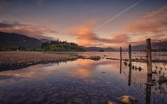 Fenced In (Captain Nikon) Tags: leadin fence derwentwater lake lakedistrict cumbria woods reflections dawn sunrise