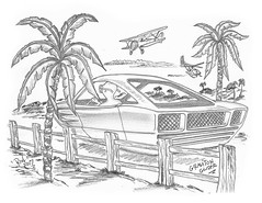 Graviton Glider (rod1691) Tags: bw sketch scifi alien concept custom car retro space hotrod drawing pencil h2 hb ink original story fantasy funny automotive art illistration moonpies