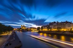 Notre Dame (Matthieu Plante) Tags: sunset paris france europe blue hour notre dame cathedral catédrale longexposure bleu road seine river
