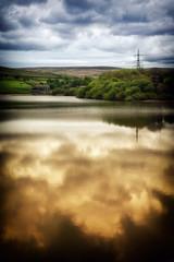 A Rochdale Reservoir (Missy Jussy) Tags: reservoir rochdale water ogden landscape lancashire reflections farm pylon hills fields sky clouds sunlight england canon canon5dmarkll 50mm ef50mmf18ll canon50mm