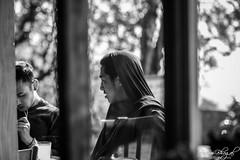 Monk at a Cafe (DSF_9623) (Param-Roving-Photog) Tags: monk buddhist tibetan cafe throughglass streetphotography monochrome blackandwhite bw nikon nikkor refugee mcleodganj himachal dharamshala