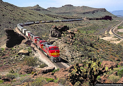 Super Fleet in Kingman Canyon (jamesbelmont) Tags: atsf santafe arizona kingman warbonnet piggyback train locomotive railroad