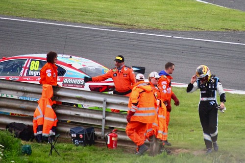 Tom Ingram walks away from his stricken car off the track at Oulton Park, May 2017