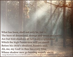 George MacDonald - dreamland as a hint of the future (Martin LaBar (going on hiatus)) Tags: georgemacdonald dreamland fantasy fantasie trees forest mist fog light rays poster bliss shadows
