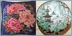 Two Cushions (FernShade) Tags: cushion embroideredcushion needlepoint needlepointcushion crewel crewelcushionneedlepoint needleart peonies embroideredpeonycushion china embroideredchinesescene
