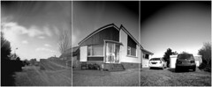 Playing with paper and pinhole (wheehamx) Tags: pinhole paper curved plane pano wide angle side by
