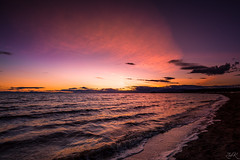 Beacon (Žèę Ķ) Tags: blue clouds driftwood golden goldenhour ionabeach landscape red sand seascape seaside sky waves yellow bc beach canada richmond water beacon warm light spectrum tide sunset dusk nature outdoor