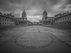 Royal Naval College Greenwich (Wizard CG) Tags: greenwich maritime museum london light lightroom sky building architecture evening time columns old royal unesco world heritage site queen's house art gallery shade 10 welding glass england great britain history navy naval college city olympus epl7 longexposure trekker black and white monochrome