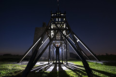 Looks like Mr.Elliott is enjoying his retirement.... (Waving lights in the dark) Tags: godox ad360 strobe retired enjoy enjoyment trigger hanging magpiemine magpie derbyshire dark afterdark nightphotography night mine headgear winding gear