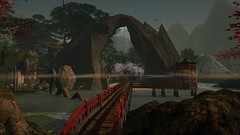 The land of wind and ghosts (alexandriabrangwin) Tags: alexandriabrangwin secondlife 3d cgi computer graphics virtual world photography japan ancient mystical fantasy land rock bridge dragon water edge ocean sea old style tales mist cloud trees cherry blossoms pagoda peaceful scene seagulls flying