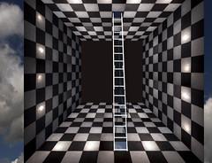 passing through (mfm2010) Tags: metcalfeimages threedimensionalspace cube box ladder checkerboard vanishingpoints 3dart denovocreation