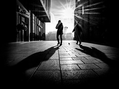 ...three wanderers... (frank_hb) Tags: bw blackwhite blackandwhite black silhouette street streetphotography hamburg contrast humaninarchitecture dark schatten kontrast