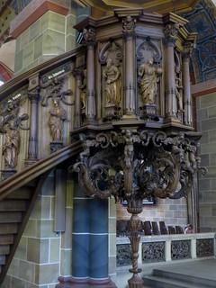 La chaire, cathédrale St Pierre (XIe au XIXe), Rathausplatz, Brême, Allemagne.