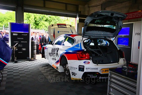 Colin Turkington's car in the garage at Oulton Park, May 2017
