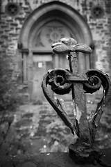 Derelict Church (rachelkirk) Tags: church belfast northernireland ireland shamrock railing blackandwhite old abandoned urbex urbanexploration rust rusty