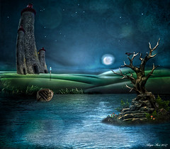 The Visit! (rubyblossom.) Tags: mii lighthouse challenge moonlight water buildings reflection girl shadow island rubyblossom rubystreasures 2017