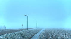 Thick fog. (Alex-de-Haas) Tags: smorgens 50mm alexdehaas d5 dutch hdr holland january nederland nederlands netherlands nikkor nikkor50mm nikon nikond5 noordholland thenetherlands westfriesland akker clouds cold countryroad daglicht damp daylight farmfield farmfields farmlands fog foggy frost handheld haze hazy highdynamicrange hoarfrost ice icy januari koud laaghangendebewolking landscape landscapephotography landschap landschapsfotografie landweg landweggetje licht light manage mist mistig misty morning nevel nevelig ochtend overdag polder rijp stables watervapor waterdamp weg winter wolken