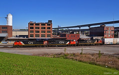 """Westbound Manifest in Kansas City, MO (""""Righteous"""" Grant G.) Tags: cn canadian national railway railroad locomotive train trains south southbound west westbound ns norfolk southern up union pacific emd ge power engine manifest freight"""