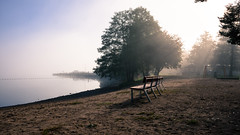 Misty morning (arska-76) Tags: mist misty fog foggy landscape finland lake tree bench morning autmn fall nikon d7200
