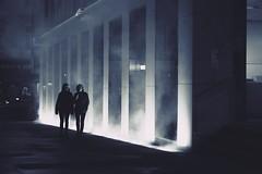 Hidden in mist (No_Mosquito) Tags: vienna austria city centre night monotone mist people canon powershot g7x mark ii lights urban street atmosphere dark