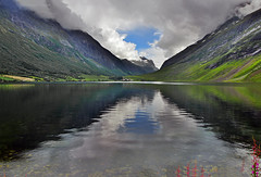 Norwegian nature (steffos1986) Tags: norway nature landscape mountain norwegian europe scandinavia norwegen noruega snow fjord pond farmland field farming summer countryside scenic green color sky scenery nikon d5500 18105vr flowers reflex shadows