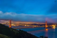 Golden Gate Bridge at Dusk (lycheng99) Tags: ggbridge goldengatebridge bridges dusk sunset lights fog clouds sanfrancisco sanfranciscobayarea sanfranciscotravel sanfranciscobridges sanfranciscoskyline sfbayarea sf sfskyline bay water skyline skyscape coast california californiacoast bayarea nightphotography longexposure