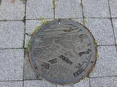 Shirakawa-jou manhole (Stop carbon pollution) Tags: japan 日本 honshuu 本州 touhoku 東北 fukushimaken 福島県 shirakawashi 白河市 マンホール manhole