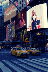 (Claire*Marsh) Tags: timessquare nyc newyork city usa taxi taxis yellow cab lights billboards busy evening urban sonya6000 sigma30mmf14 nik crossing mcdonalds blur motion