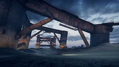Cruising through Rust and Decay (UraniumRailroad) Tags: madmax videogame pc rust decay driving car structures dusk
