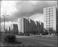 Katowice, Poland. In my neighbourhood. (wojszyca) Tags: mamiya rz67 6x7 120 mediumformat fuji neopan acros 100 gossen lunaprosbc 75mm shift epson v800 city urban residential socialist modernism towerblock katowice paderewa architecture