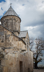 Surp Astvatsatsin church, 1281 (Tigra K) Tags: teghut tavush armenia am 2011 architecture church dome haghartsin tower tree