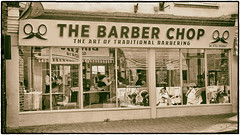 Day 135 Barber chop (Dominic@Caterham) Tags: barber shop street hairdressers sepia