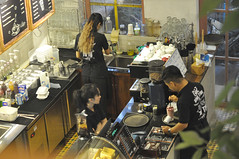 Service centre (Roving I) Tags: workers cafes serving sinks kitchens longhair drinks coffeemachines danang vietnam
