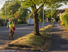 August Evening Ride (M C Smith) Tags: cycle august pentax k3 roads trees lamps verge green grass hedge houses signs van sky blue