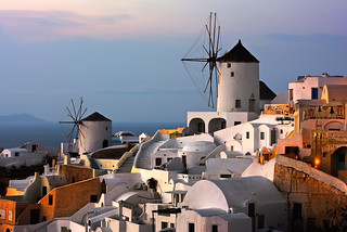 Windmills of Oia Village at Sunset, Santorini, Greece