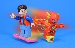 Marty and Flash (MrKjito) Tags: lego minifig flash comic comics dc marty mcfly back future delorean time machine super hero crossover hoverboard present past