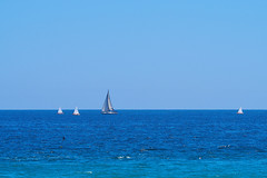 Wait for me! (Fnikos) Tags: sky skyline sea seascape serene boat sailboat vehicle outdoor