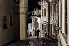 Bratislava; Down The Alley (drasphotography) Tags: bratislava slovakia drasphotography travel travelphotography reisefotografie reise nightshot night nachtaufnahme nacht streetphotography streetshot moody man silhouette oldtown shadow urban city presburg