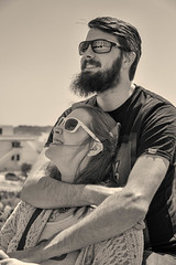 Let's stay together... [Explored] (judi may...mostly off for a while) Tags: portrait sepia people love malta canon7d sunglasses monochrome mono reflections happy beard smiles smiling explore