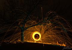 Lightpainting VIII (zouberiphotography) Tags: linz austria light painting lightpainting fire long exposure tree branches dark night fireworks sparks burn burning pyro pyrotechnics steel steelwool illumination nikon d7000