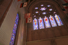 Stained Glass, with Historic Flags (JB by the Sea) Tags: sanfrancisco california april2017 urban nobhill gracecathedral church gothic frenchgothic stainedglass