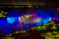 The amazing view of Niagra falls at night from the hotel room.