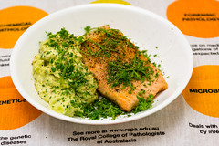 Crispy skin pan-fried salmon with creamy smashed avocado (garydlum) Tags: limezest belconnen parsley avocado limejuice sourcream chilliflakes springonion chillies canberra salmon