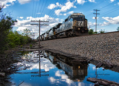Reflecting Black (Wheelnrail) Tags: ns norfolk southern train trains locomotive ge c408w cooke road rd railroad rail freight rails reflect water codeline columbus ohio sandusky district