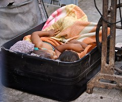le strade di Yangon (pacocult) Tags: babe sleeping box bag yangon myanmar market two mother